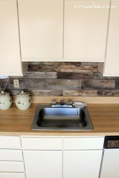 Cheap Barnboard Diy Rustic Kitchen Backsplash. I have been seriously considering making this my backsplash, but only if I can do something with the ugly peach counters first.