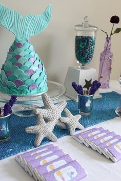 Purple and aqua treats at a Mermaid party!    See more party ideas at CatchMyParty.com!  #partyideas #mermaid