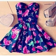 Adorable Floral Summer Dress. I would prefer it a bit longer but this is still cute. cute outfits summer for teens, cute dresses for teens summer, adorable outfits for teens, summer outfits teen, black floral dress outfit, cute summer dresses for teens, floral summer dress, cute teen outfits for summer, cute teen summer dresses
