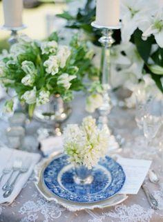 La Tavola Fine Linen Rental: Alencon Lace Table Cap w/ Burlap Natural Underlay