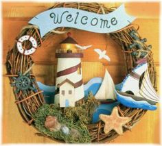 Lighthouse Home Decor Catalogs | Lighthouse Welcome Wreath with Nautical Scene, Home Wall Decor