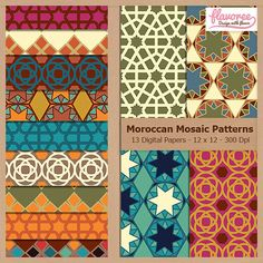 Digital Scrapbook Paper Pack  MOROCCAN MOSAIC PATTERNS by Flavoree, $5.00