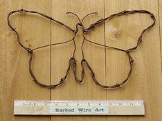 Butterfly  Hand made rustic barbed wire art by BarbedWireArtist