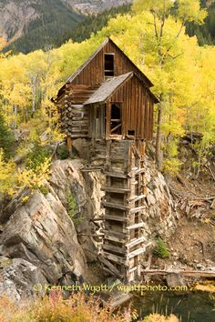 Colorado aspens and old mining buildings