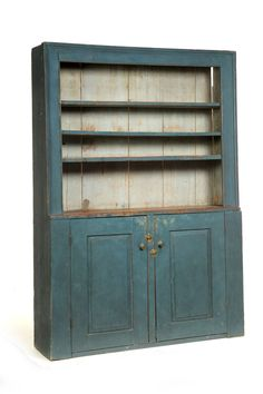CANT-FRONT CUPBOARD. New England, 1790-1840, pine