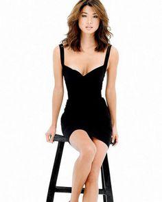Grace Park gorgeous cleavage in a low cut little black dress