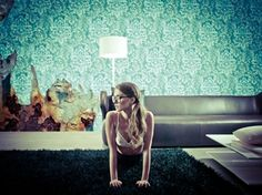 wallpap idea, gio pagani, lighting, wall deco, time wallpap, murals, wallpapers, teal, vintage style