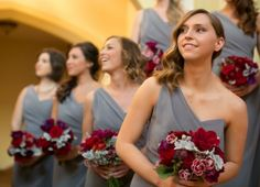 bridesmaids in grey Dessy dresses After Six Style 6646