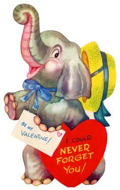 vintage valentine - a fun elephant
