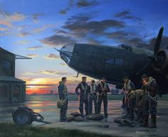 Handley Page Halifax bomber crew member enjoys a last cigarette.