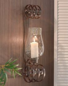 ME3007 - Bronze Iron Curled Wall Sconce - Candle Holder