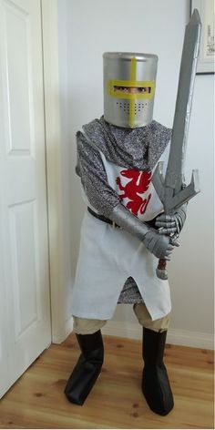 upcycled knight helmet (pillow case made into a knight costume)