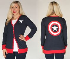 So I want this captain America cardigan so bad also click the pic to see more awesome shield inspired clothes