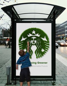 Starbucks Green Logo Bus Stop Ad