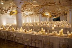 candles. #dreamdigs floral centerpieces, wedding flowers, harry potter, tree branches, candl, light, wedding centerpieces, long tables, table numbers