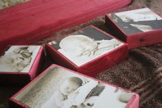 Love this idea! Will do it.... . you dye would any color and then mod podge your photos onto the wood.