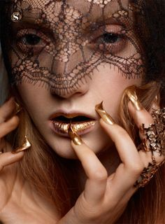 Gold lips and nails