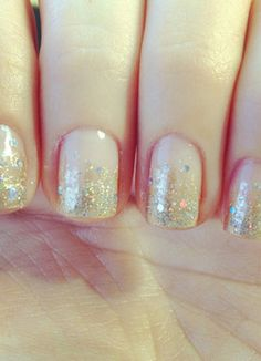 Sparkle Fade Nail Design - Simple and Chic