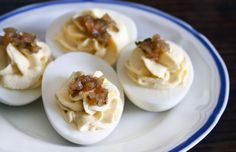 Use nonfat Greek yogurt to cut fat without sacrificing flavor in this Deviled Eggs Recipe. #healthy #recipes #eggs #breakfast