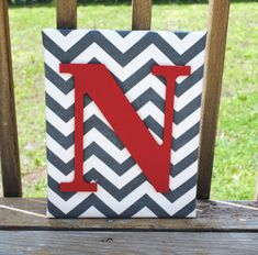 "Personalized Grey Chevron With Red Initial Canvas Wall Art 11""x14"" Customized Boys And Girls Room Decor on Etsy, $20.00"