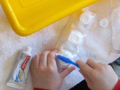preschool play centers, young children, teeth brushing for kids, preschool themed classroom, bucket, egg cartons, teaching kids, toothbrush water, preschool water play