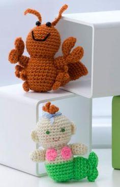 Crochet Little Lobster & Baby Mermaid free crochet pattern by Red Heart Yarns craft, free pattern, lobsters, baby toys, babi mermaid, crochet patterns, yarn, amigurumi patterns, mermaid crochet