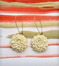 Lotus Earrings   Circular flower hung from gold plated kidney hook. The Lotus ...   Earrings