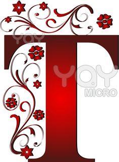 abc, monogram, letra decorativa, alphabet soup, letter tee, floral designs, letters, amkcrtv, letter red