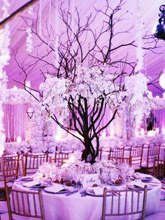 purple tree wedding centerpiece