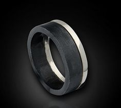 The Tuxedo Ring--Modern Urban Wedding Band in Black and White--14K White Gold with Black Silver Men's Band on Etsy, $275.00