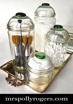 DIY 4 Glass Containers for 2 DOLLARS!!  Use for GIFT, display, decor, kitchen, event, entertaining.  Blog & Photos from MrsPollyRogers.com