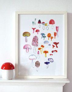 mushroom art, butterflies, inspir, prints, illustr, mushrooms