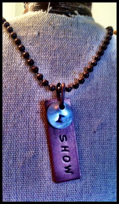 """Hand Stamped, Rustic, Recycled Metal, Copper & Nickel """"I SHOW"""" Pendant Charm Tag Cluster Necklace Word Phrase Jewelry   Must try!  #ecrafty @Kim at eCrafty.com #stampedmetalblanks #jewelrysupplies  #stampedmetaljewelry #necklacesupplies #ballchainnecklaces #jumprings #metalstampingblanks"""