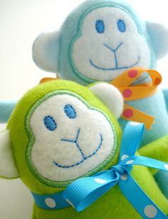 machine embroidery projects | Embroidery Design for Machine Embroidery Monkey Softie In-The-Hoop ...