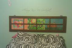 Old Window Headboard using kids art work