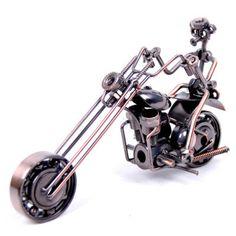 Vintage Hand Made Metal Art Bar Decor 1/12 Motorcycle w Rider