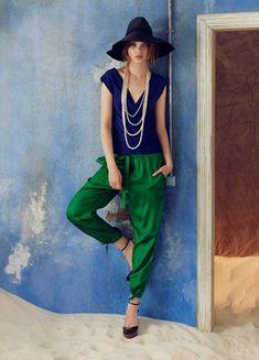 Blue, green, neckline