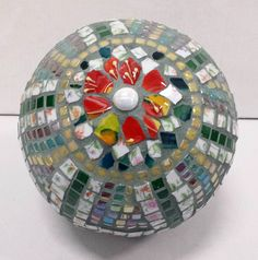 Mosaic picassiette garden sphere by piecebypieceorg on Etsy, $200.00