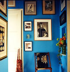 blue paint gallery wall