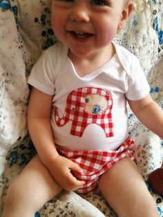 Baby girl red gingham Elephant onesie by MyCoatofManyColours, £8.00