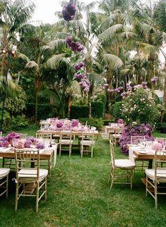 Purple decor for an outdoor wedding