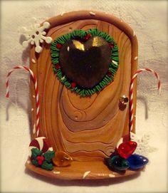 CHRISTMAS ELF Fairy DOOR - Polymer Clay