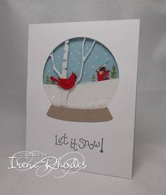 card: Cardinal Snow Globe...awesome card!!! luv it!!! What a way to fill negative die cut space...