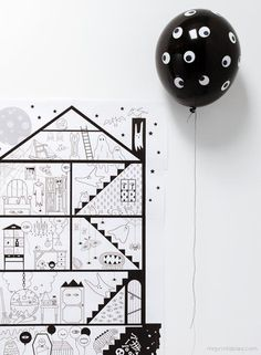 Fun last minute Halloween craft: Free haunted house coloring page for kids.