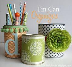 DIY Tin Can Organizers