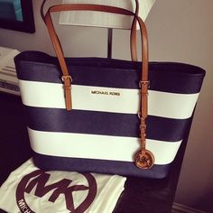 fashion shoes, jet set, travel bags, designer handbags, black white, michael kors purses, summer bags, fashion designers, stripe