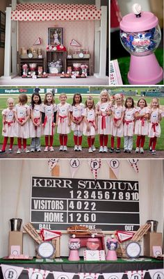 GIRLY BASEBALL PARTY- A league of her own. Too adorable. Via Kara's Party Ideas KarasPartyIdeas.com #girlbaseball #partyideas #baseballparty...