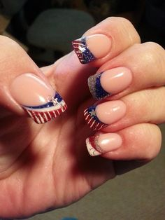 My July 4th nails done at Gallery Nail Spa in Farmersville, TX on 6-21-13