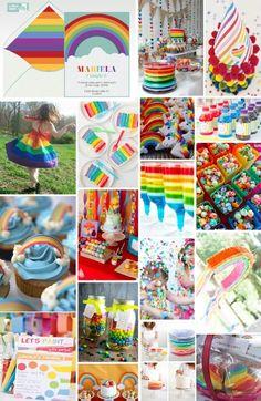 Decoracion fiesta infantil de arcoiris...super colorida