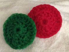 Crocheted nylon net pot scrubbies.